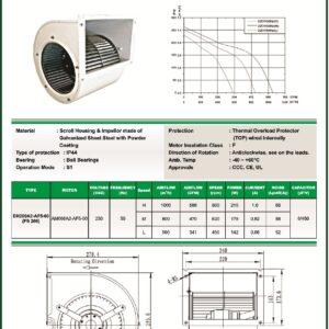 DH200A2-AF5-00 FS200 centrifugal blower fans Forward curved Dual Inlet fs200 make fans-tech
