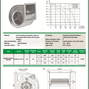 DH230A2-AG5-01 FS230 centrifugal blower fans Forward curved Dual Inlet fs230 make fans-tech